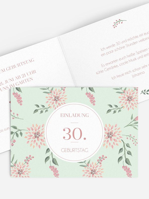 Einladung 30. Geburtstag Rosehip