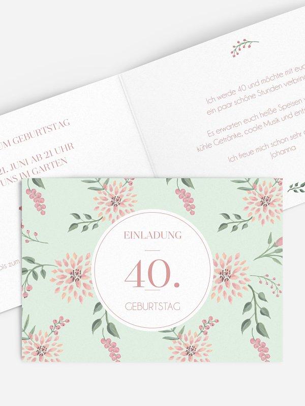 Einladung 40. Geburtstag Rosehip