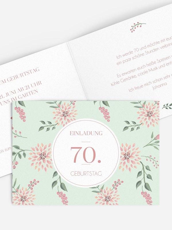 Einladung 70. Geburtstag Rosehip