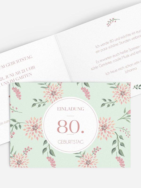 Einladung 80. Geburtstag Rosehip