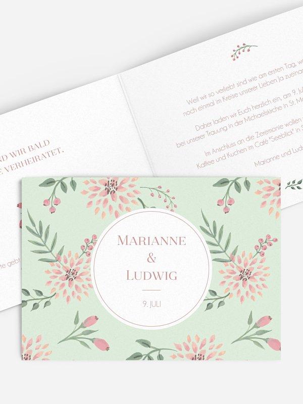 Einladung zur Goldenen Hochzeit Rosehip