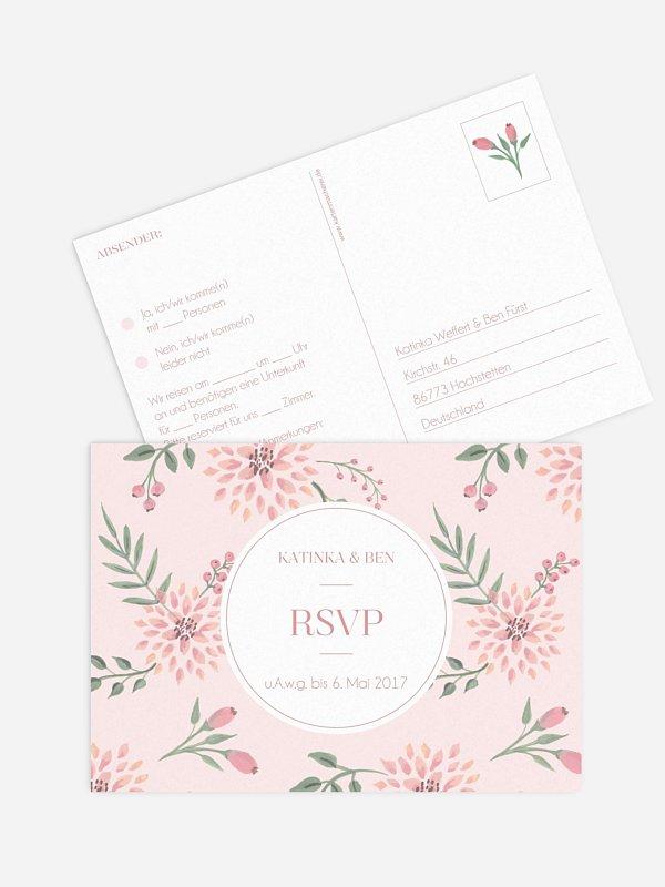 Antwortkarte Hochzeit Rosehip