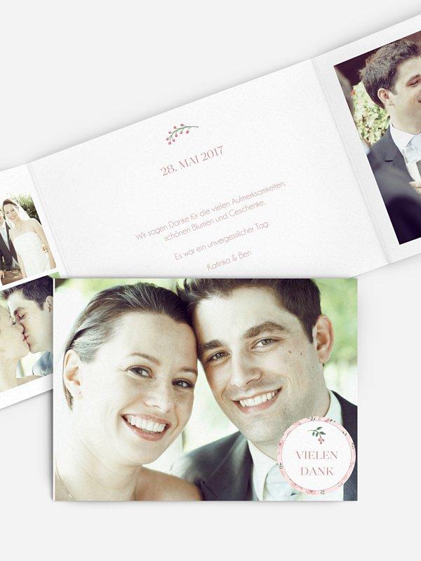 Dankeskarte Hochzeit Rosehip