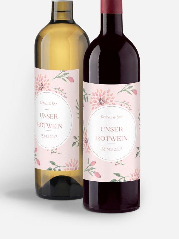 Flaschenetikett Hochzeit Rosehip
