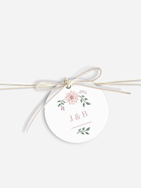 Étiquette avec ruban Poésie florale
