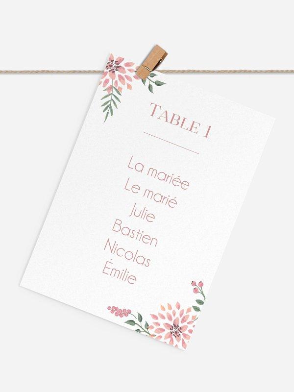Cartons Plan De Table Mariage Poésie Florale