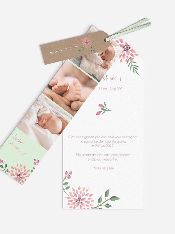Faire-part naissance Poésie florale