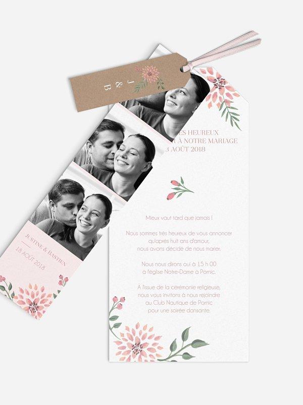 Faire-part mariage Poésie florale