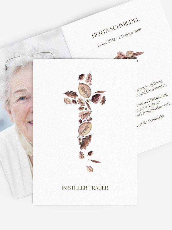 Trauerkarte Blätterkreuz