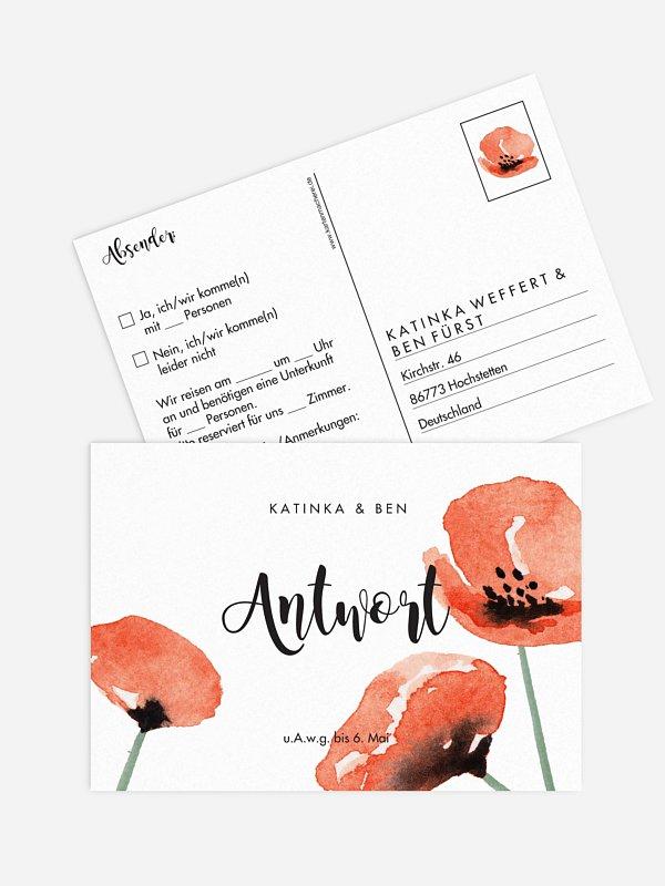 Antwortkarte Hochzeit Mohn Amour