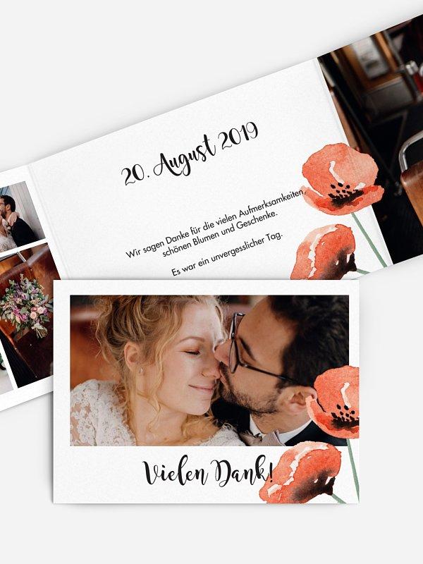 Dankeskarte Hochzeit Mohn Amour