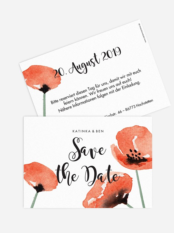 Save-the-Date Karte Mohn Amour