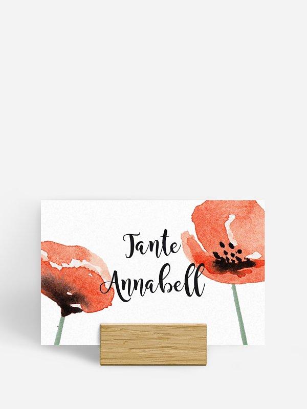 Tischkarte Hochzeit Mohn Amour