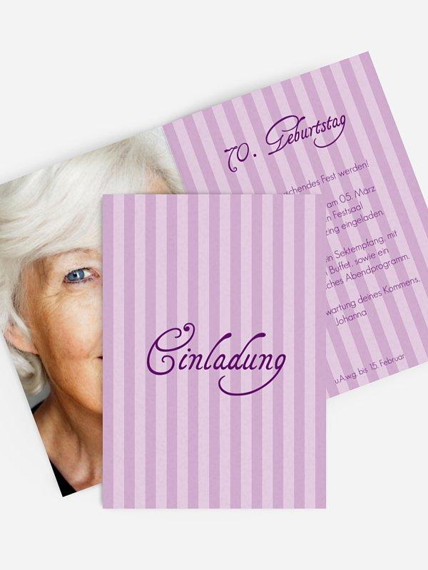 Einladung 70. Geburtstag Gestreift