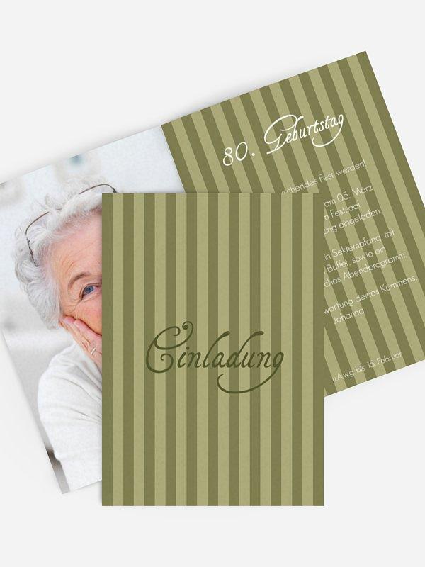 Einladung 80. Geburtstag Gestreift