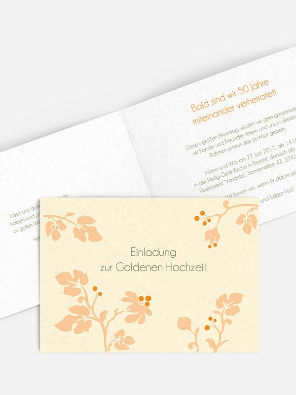 Einladung Goldene Hochzeit Blattzart
