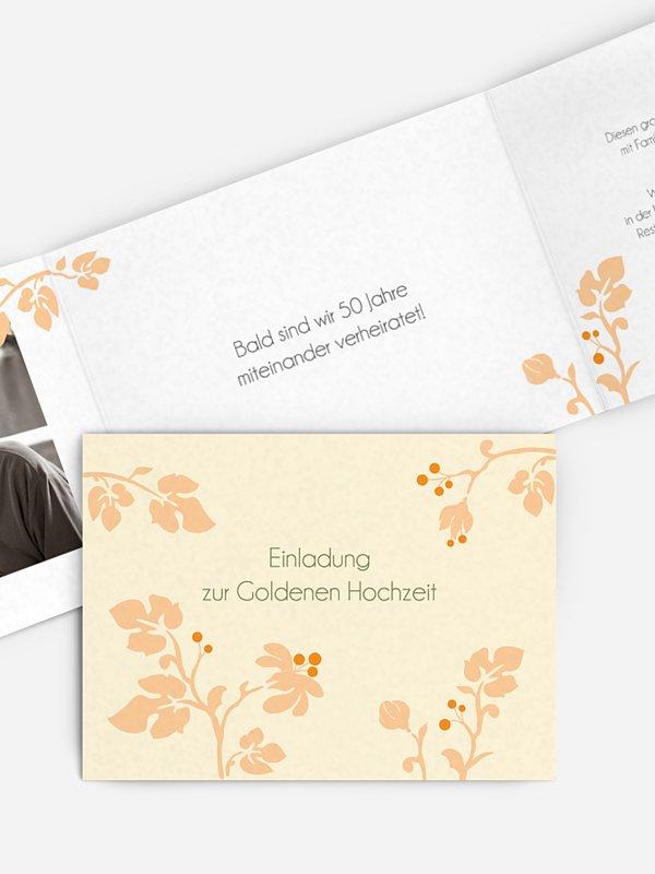 Einladung zur Goldenen Hochzeit Blattzart
