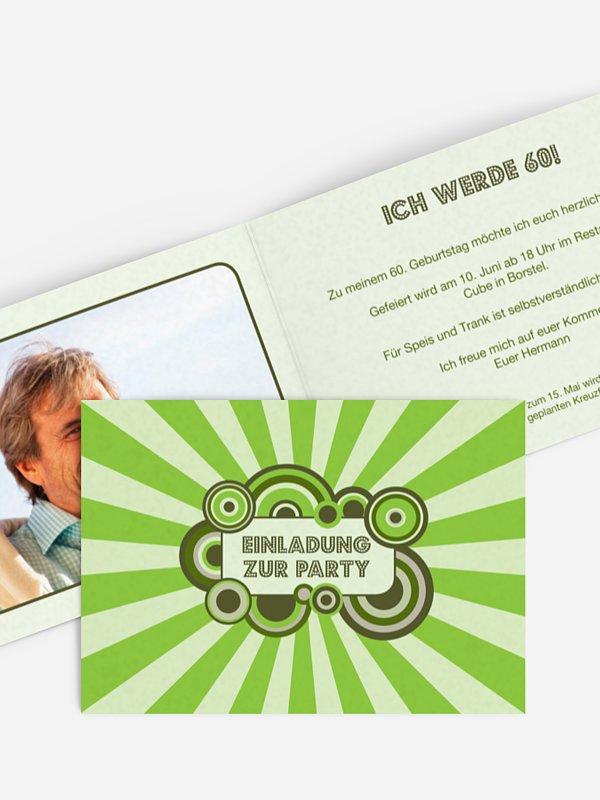 Einladung 60. Geburtstag Retro