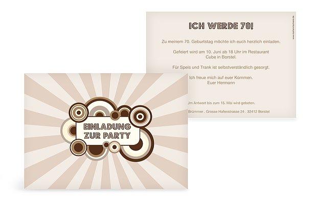 Einladung 70 Geburtstag Retro