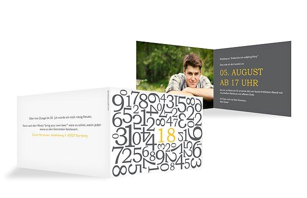 Einladung 18. Geburtstag Zahlen