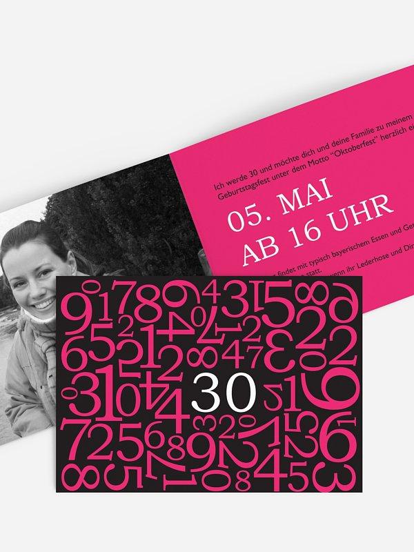 Einladung 30. Geburtstag Zahlen