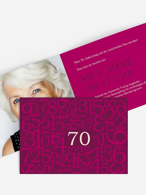 Einladung 70. Geburtstag Zahlen
