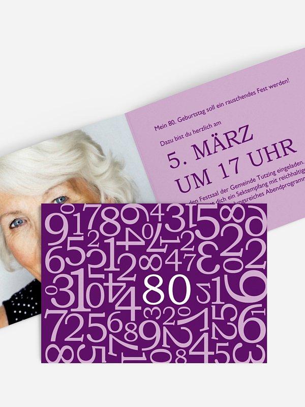 Einladung 80. Geburtstag Zahlen