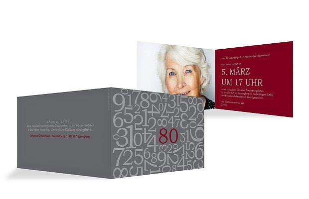 """Einladungskarten Zum 80 Geburtstag Selbst Gestalten: Einladung 80. Geburtstag """"Zahlen"""""""