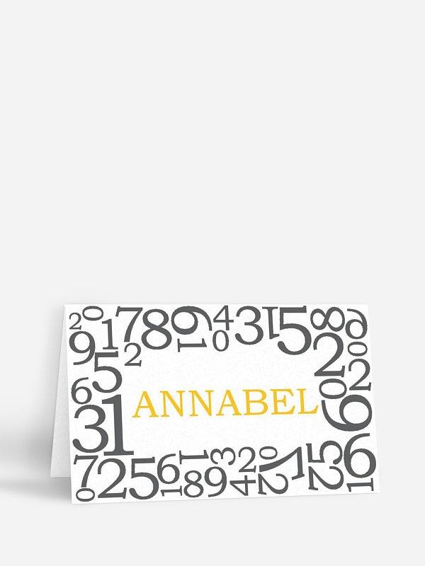 Tischkarte Geburtstag Zahlen