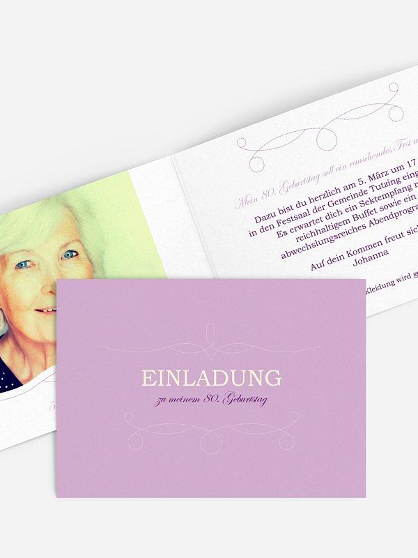 Einladung 80. Geburtstag Feinart