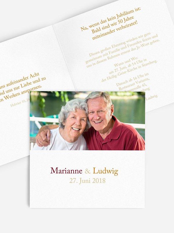 Einladung zur Goldenen Hochzeit Zweisam