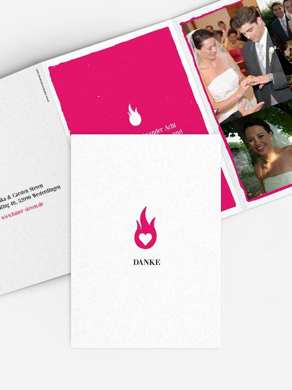 Dankeskarte Hochzeit Flamme