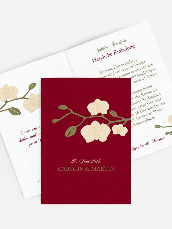 Einladung zur Goldenen Hochzeit Orchidee