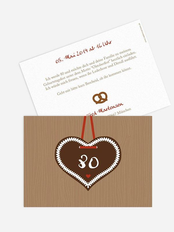Einladung 80. Geburtstag Zünftig