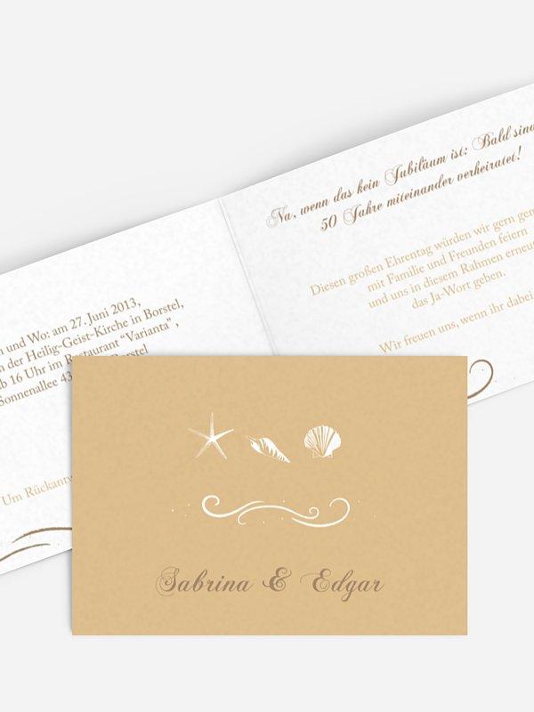 Einladung zur Goldenen Hochzeit Beach