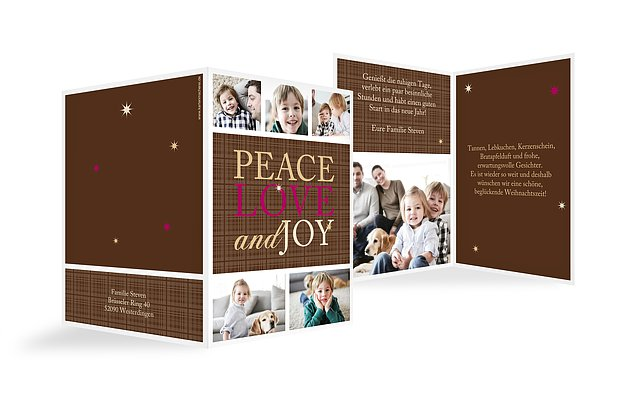 "Weihnachtskarte ""Peace, Love & Joy"""