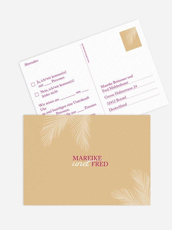Antwortkarte Hochzeit Palmenblatt