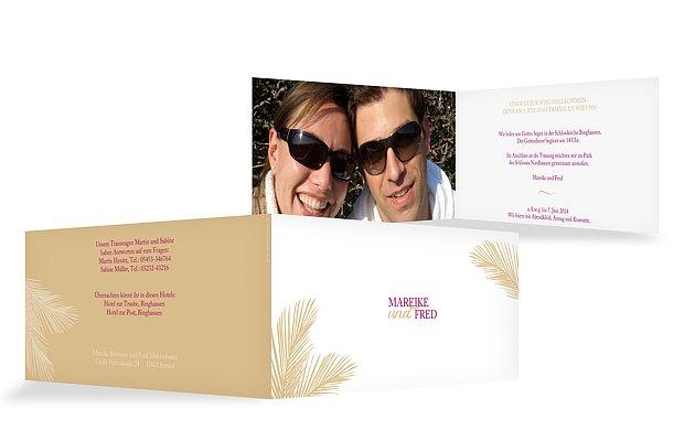 Hochzeitseinladung Palmenblatt