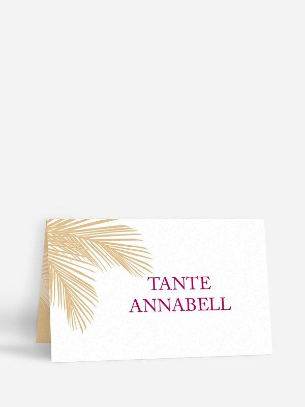 Tischkarte Hochzeit Palmenblatt