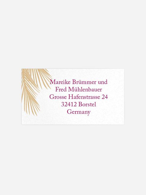 Empfängeraufkleber Hochzeit Palmenblatt