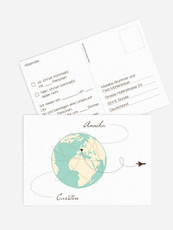 Antwortkarte Hochzeit Weltenbummler