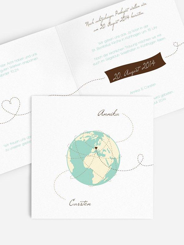 Hochzeitseinladung Weltenbummler