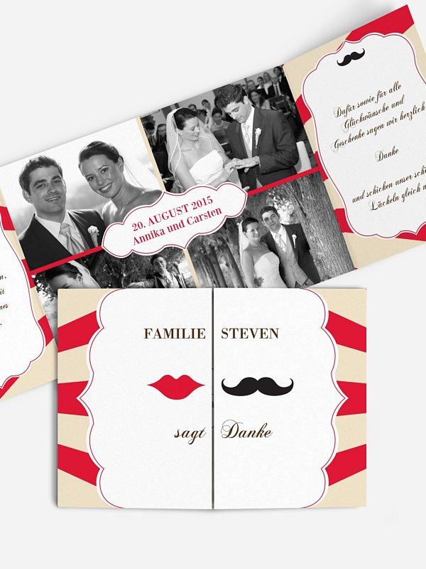 Dankeskarte Hochzeit Moustache
