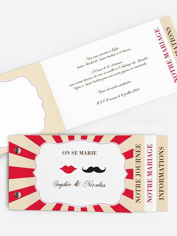 Faire-part mariage Moustache