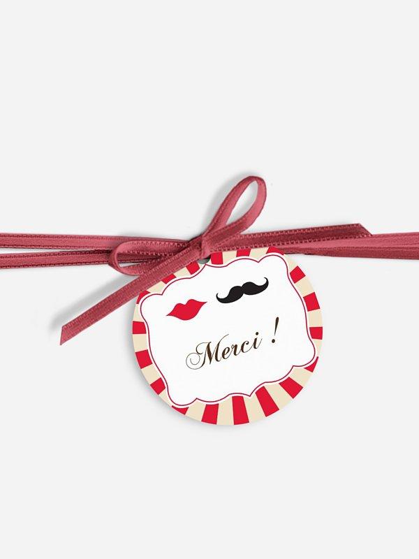 Étiquette avec ruban Moustache