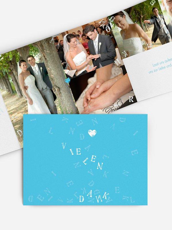 Dankeskarte Hochzeit Buchstaben