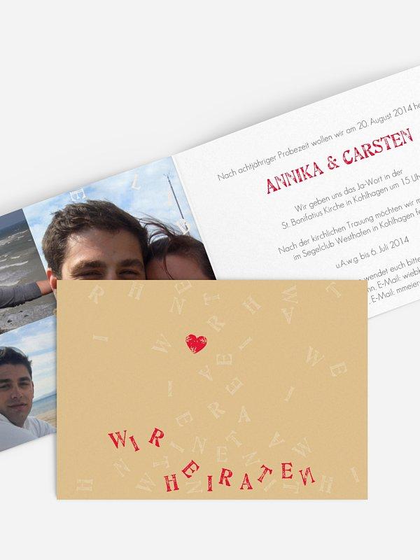Hochzeitseinladung Buchstaben