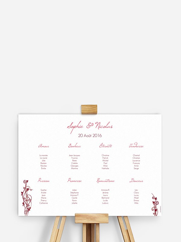 Poster plan de table mariage Sarment