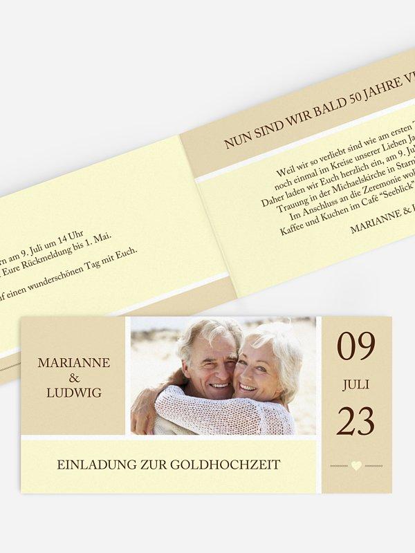 Einladung zur Goldenen Hochzeit Herzenszeit