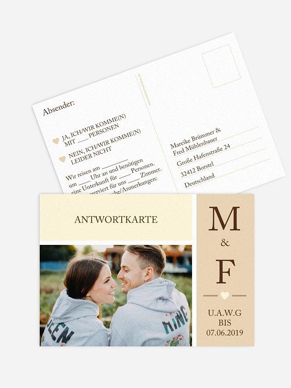 Antwortkarte Hochzeit Herzenszeit